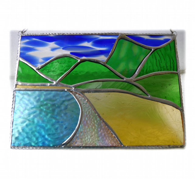 Tropical Beach Stained Glass Picture Landscape 001
