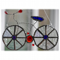Bicycle Suncatcher Blue Red Stained Glass Handmade Cycling 023