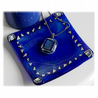 Blue Dichroic Dish 12cm Silver Pattern Border Fused Glass Square