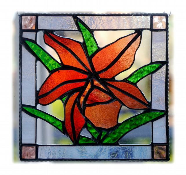 Orchid Stained Glass Suncatcher Rose Red Framed
