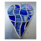Patchwork Heart Suncatcher Stained Glass Handmade Blue 042