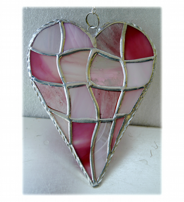 Patchwork Heart Suncatcher Stained Glass Handmade Pink 043