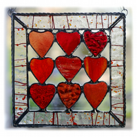9 of Hearts Suncatcher Stained Glass Framed 013 Red