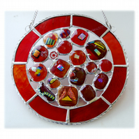 Melting Pot Suncatcher Stained Glass Abstract Handmade fused 004 Red