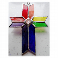 Cross Suncatcher Stained Glass Handmade Rainbow Crystal 048