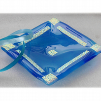 Aqua Dichroic Dish 11.5cm Gold Florentine Pattern Border Fused Glass Square