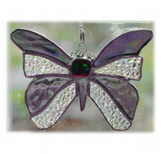 Birthstone Butterfly Suncatcher Stained Glass Amethyst February 054