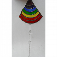 Rainbow Drops Suncatcher Stained Glass Handmade