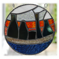 Potbank Skyline Stained Glass Picture Suncatcher Sunset Ring 003
