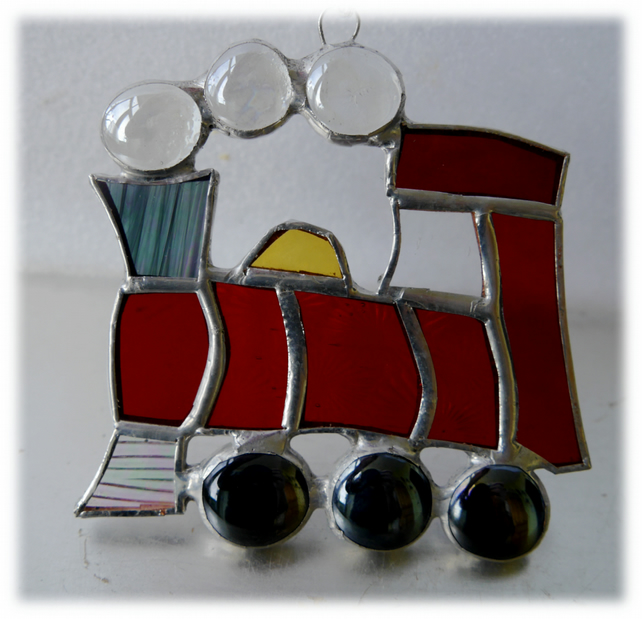 Steam Train Suncatcher Stained Glass Red Handmade Engine 011
