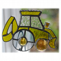 Digger Suncatcher Stained Glass British JCB Yellow 008