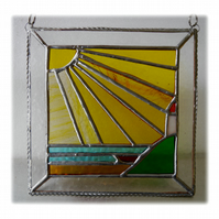 Sunny Seaview Stained Glass Suncatcher Picture Handmade 002