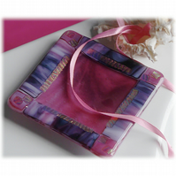 Pink Dichroic Dish 11.5cm Purple Border Fused Glass Square