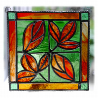 Leaf Tile Suncatcher Stained Glass Red Framed Picture 004