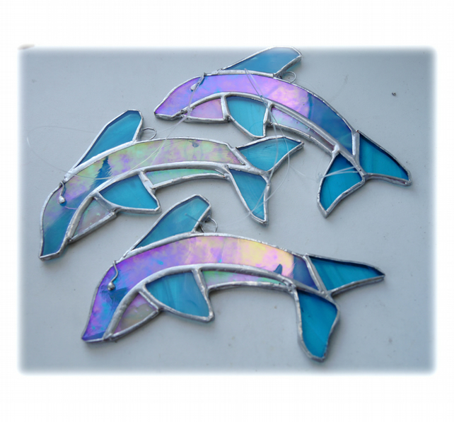 Dolphin Suncatcher Stained Glass Handmade 023 or 024
