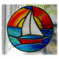 Sailboat Sun Stained Glass Suncatcher Handmade Ring 008