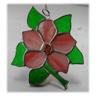 Clematis Suncatcher Stained Glass Flower Pink