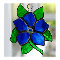 Clematis Suncatcher Stained Glass Flower Blue