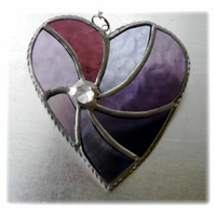 Purple Swirl Heart Stained Glass Suncatcher 042