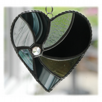 Black Swirl Heart Stained Glass Suncatcher 038