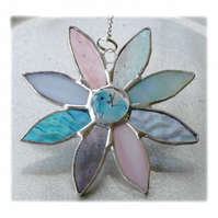 Pastel Daisy Suncatcher Stained Glass Flower Dichroic 027