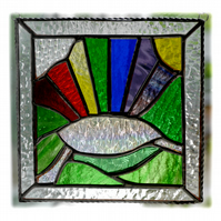 Stained Glass Suncatcher After the Rain Rainbow Handmade