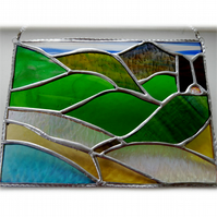 Welsh Mountain Stained Glass Picture Landscape 002