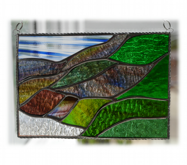 Scottish Mountains Panel Stained Glass Picture Landscape 008