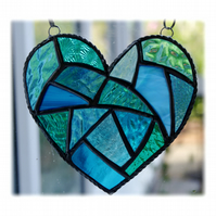Fat Patchwork Heart Suncatcher Turquoise Sea Stained Glass Handmade