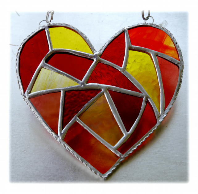 Fat Patchwork Heart Suncatcher Sun Stained Glass Handmade