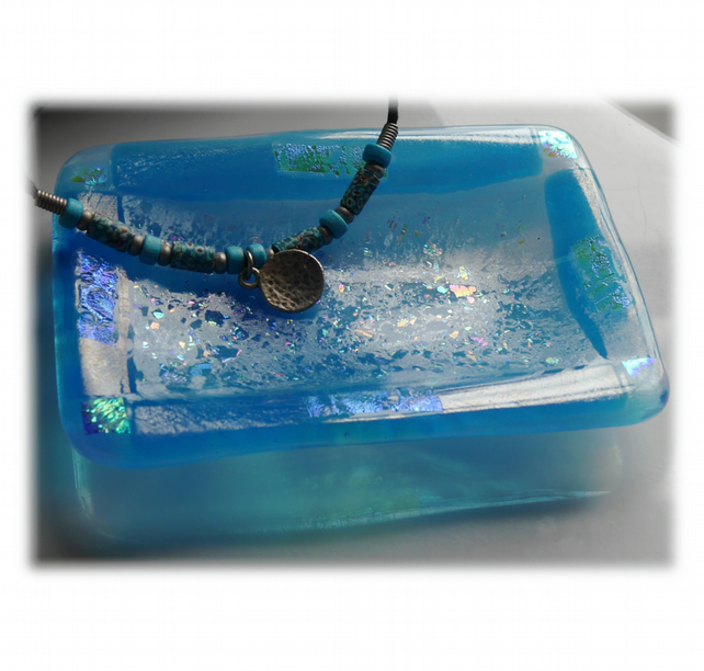 Soap Dish Fused Glass Turquoise dichroic decorated 013