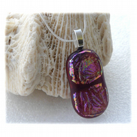 Plum Dichroic Glass Pendant 130 Glitter with silver plated chain