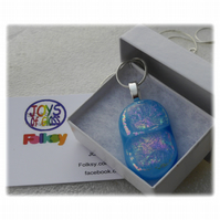 Turquoise Dichroic Glass Pendant 131 Pink Sparkle with silver plated chain