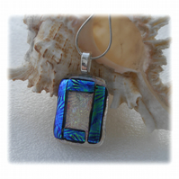 Florentine Dichroic Glass Pendant 134 Clear Bordered with silver plated chain