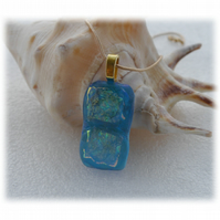 Turquoise Dichroic Glass Pendant 133 Florentine Sparkle with gold plated chain