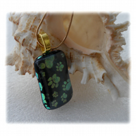 Black Paw Dichroic Glass Pendant 137 with gold plated chain