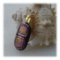 Plum Dichroic Glass Pendant 135 Shimmer with gold plated chain