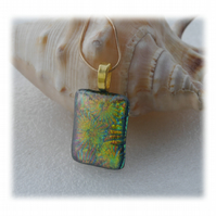 Green Dichroic Glass Pendant 138 Florentine with gold plated chain