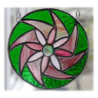 Floral Swirl Stained Glass Suncatcher Handmade 002