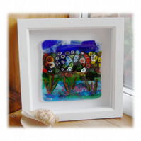 Fused Glass Garden Picture Box Framed 001