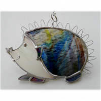 Hedgehog Suncatcher Stained Glass Handmade 055 Left