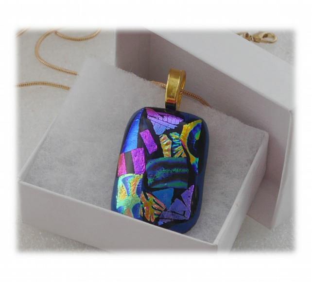 Blue Dichroic Glass Pendant 141 Patchwork with gold plated chain