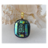 Black Dichroic Glass Pendant 143 Green Etched with gold plated chain