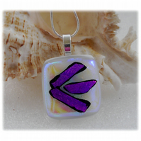 White Dichroic Glass Pendant 139 Purple Shine with silver plated chain