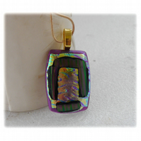 Green Dichroic Glass Pendant 142 Purple Stripe with gold plated chain