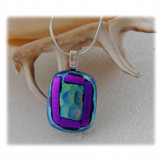 Peacock Dichroic Glass Pendant 140 Purple Bubbles with silver plated chain