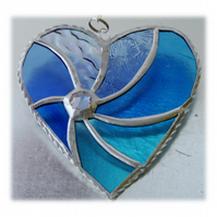 Teal Swirl Heart Stained Glass Suncatcher 045