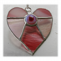 Pink Jewel Heart Stained Glass Suncatcher 002
