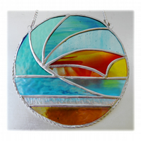 Sunset Waves Suncatcher Stained Glass 001