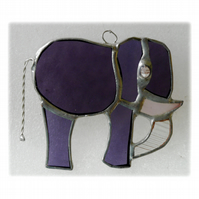 Elephant Suncatcher Stained Glass Purple 092